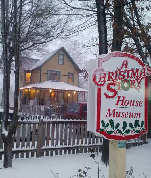 Snow on A Christmas Story House