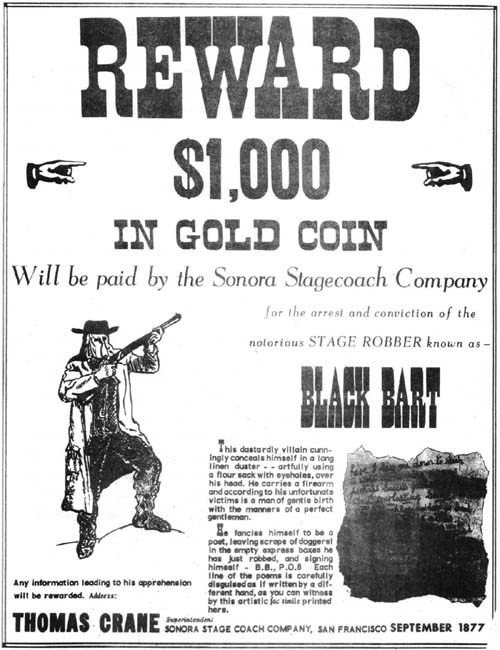Black Bart Wanted Poster