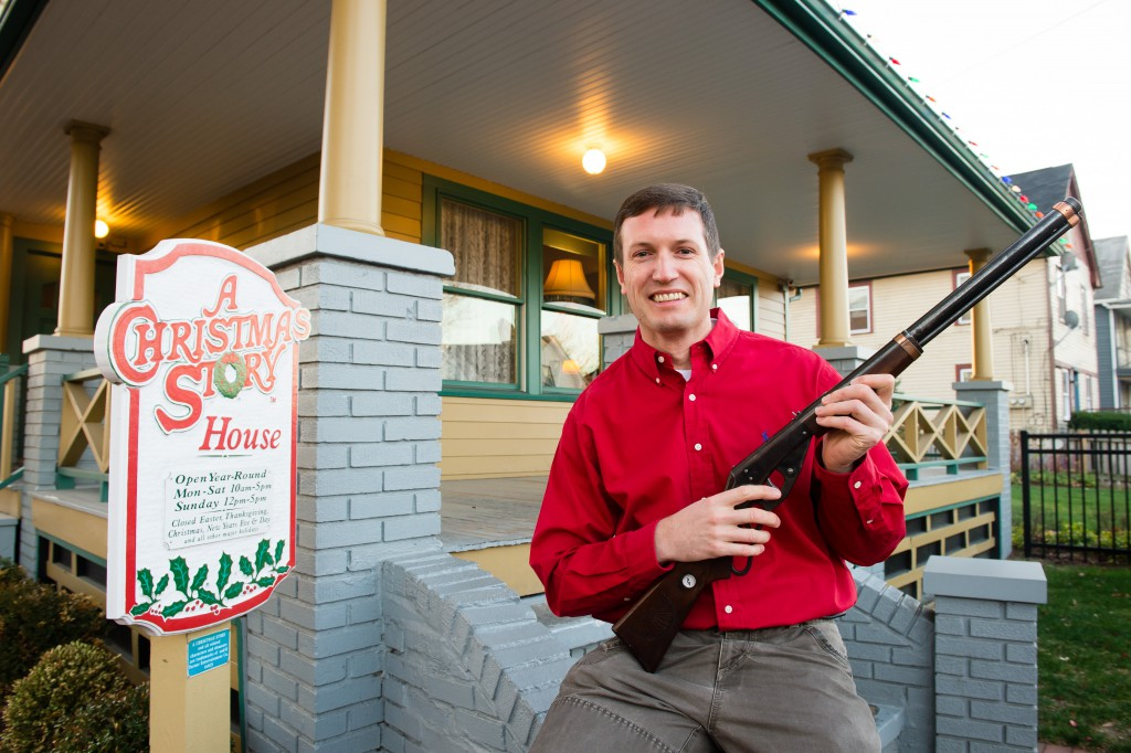 Museum owner Brian Jones holds the Red Rider BB Gun used in the movie at A Christmas Story House and Museum on Monday, Nov. 16, 2015 in Cleveland. The Museum has recently acquired the movie prop and added it to their collection. (Jason Miller/AP Images for A Christmas Story House and Museum)