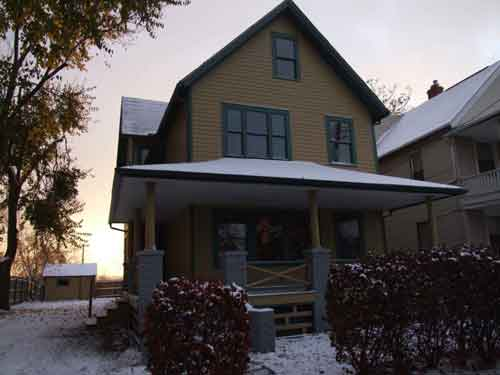 A Christmas Story House front with snow