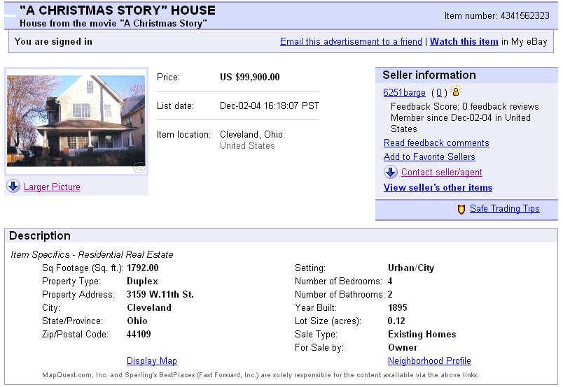 Christmas Story Location.Original Ebay Ad A Christmas Story House