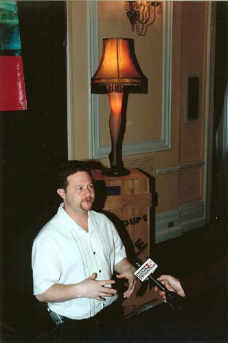 Scotty Schwartz giving an interview with the leg lamp in the back ground