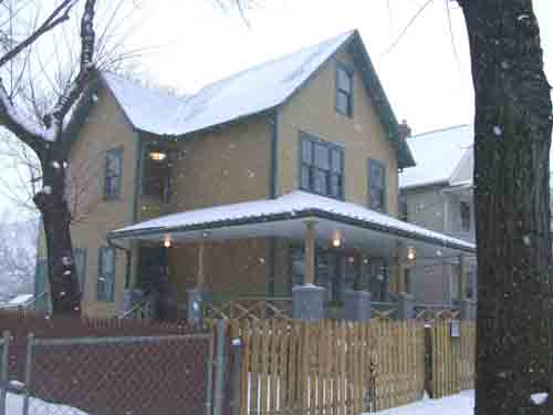 A Christmas Story House with snow